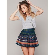Free People FP ONE Thai Print Mini Skirt ($70) ❤ liked on Polyvore featuring skirts, mini skirts, patterned mini skirt, pleated mini skirt, short skirt and embellished mini skirt