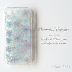 iPhoneSE/5/5sケース 押し花 アジサイ ブルー&パープル