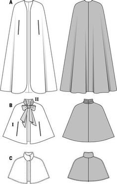 View B in plaid with satin ribbon Simplicity Creative Group - Burda Style Capepattern for cape Burda costume: Cloak, maybe remove front panels from A and stick B on top?Matching companions for your evening dress: the long plain velvet cape, Diy Clothing, Sewing Clothes, Clothing Patterns, Dress Patterns, Sewing Coat, Coat Patterns, Costume Chevalier, Hooded Cape Pattern, Knitting Patterns