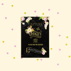 Instagram Hashtag Printable Wedding Sign Floral Wedding Instagram Custom Hashtag Sign Chalkboard gold foil Social Media wedding poster idw21