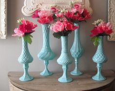 Dollar Store candlesticks and thrift store vases, spray painted beautiful blue.