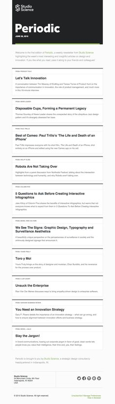Introducing Periodic - Really Good Emails Web Design, Email Design, Innovation Strategy, Best Email, Email Campaign, Texts, Period, Typography, Science