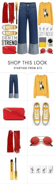 """""""#696 Doodlesack"""" by mayblooms ❤ liked on Polyvore featuring MANGO, MICHAEL Michael Kors, Alessandra Rich, ZeroUV, Nasty Gal, Casarialto, Go Stationery, denimtrend and widelegjeans"""