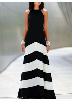 Latest Sleeveless Color Block Design High Waist Maxi Dress on sale only US$13.77 now, buy cheap Latest Sleeveless Color Block Design High Waist Maxi Dress at martofchina.com