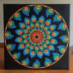 Rainbow colors dot Mandala on black stretched canvas 12 Rainbow Painting, Dot Art Painting, Mandala Painting, Painting Patterns, Mandala Canvas, Mandala Dots, Mandala Pattern, Mandala Print, Pointillism Tattoo