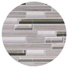 $6.50 bar backsplash  Modamo - Waterfall Bamboo Walnut Porcelain Glass Linear Blend Mosaic - YUSRDMS248 - Home Depot Canada
