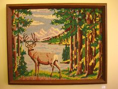 Vintage woodland Deer needlepoint framed by silvermothpdx on Etsy, $65.00