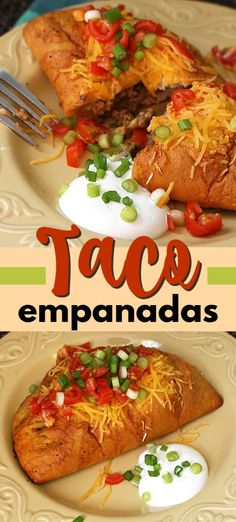 These taco empanadas are easy to make and are a great weeknight meal. Taco hand pies are perfect for leftover taco meat! Easy to eat on the go as well! enjoy more recipes from here, get update all day past delicious and yummy recipes Slow Cooker Meat Recipes, Baked Meat Recipes, Ground Meat Recipes, Healthy Meat Recipes, Meat Recipes For Dinner, Mexican Food Recipes, Cooking Recipes, Mexican Dishes, Crockpot Taco Meat