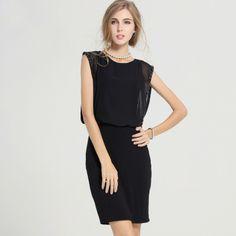 OL Style Slimming Bodycon Sleeveless Black Dresses For Women