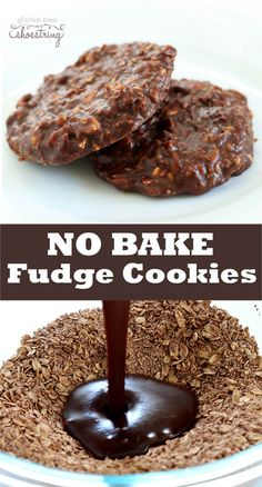 No bake fudge cookies are the classic no bake cookie you remember, made with or without peanut butter—even with or without oats. Recipes for no bake fudge cookies made with but Oatmeal No Bake Cookies, Healthy No Bake Cookies, Chocolate Oatmeal Cookies, Fudge Cookies, Easy Cookie Recipes, Yummy Cookies, Free Recipes, Oatmeal Cake, Sandwich Cookies