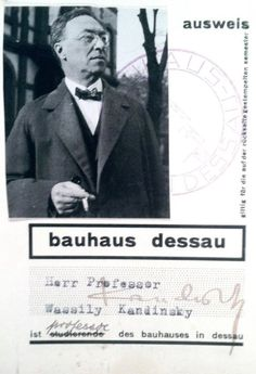 Wassily Kandinsky's Bauhaus id. Bauhaus Style, Bauhaus Design, Walter Gropius, Wassily Kandinsky, Id Card Design, Herbert Bayer, Laszlo Moholy Nagy, Ludwig Mies Van Der Rohe, Photo Portrait