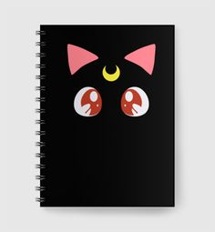 Luna Notebook design by Arumairu. Remember Luna from Sailor Moon? Luna is black with sleek fur and has a crescent moon on her forehead, now you can have this cute notebook in your bag. Wire notebook. http://www.zocko.com/z/JJ2p9