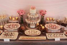 Tavolo dessert in rosa: una bella idea per la casa della sposa