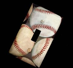 Single Light Switch Cover Baseballs Boys Bedroom Decor Sports. $6.00, via Etsy.