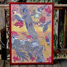 Seven Species woodpecker woodcut framed in red tiger maple by jpopstudios on Etsy