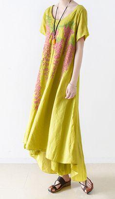 new yellow embroidery linen maxi dress oversize asymmetric sundress short sleeve dresses