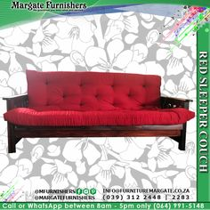 A perfect marriage of style, comfort and function have been achieved in the design of this exquisite wood base red sleeper couch. Please contact us for pricing. More info on our website. Link in bio. Furniture, Interior Design Advice, Lounge Furniture, Sleeper Couch, Lounge Areas, Interior Design, Couch, Functional Furniture, Lounge