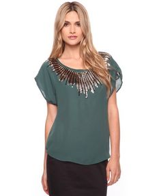 Like this emerald sequined top too