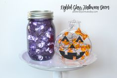 Great ways to brighten up your Halloween decor with jars and lights, including a purple Mason Jar!