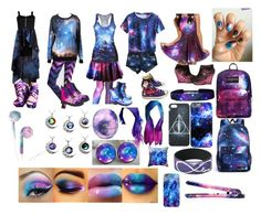 """""""Discovering New Galaxies"""" by dragonowl ❤ liked on Polyvore featuring Converse, Eos, JanSport and T.U.K."""