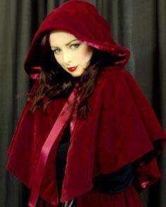 Hooded cape, red claret velvet, satin lined.