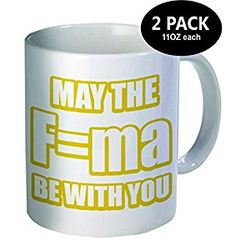 Pack of 2 - May the law of acceleration be with you, force, yellow - 11OZ ceramic coffee mugs - Best funny and inspirational gift