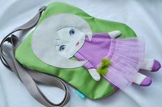 Fairy dolly bag for girls lilac & green manual by NinuMiluBagDolls