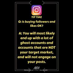 Tip time: Question: Is buying followers and likes OK   Answer: You will most likely end up with a lot of ghost accounts and accounts that are NOT your target market and will NOT engage on your posts...  Building your account by following and engaging with your target market will in the long run be more effective!   Did you find value in this post...  Tap  and leave a comment!   Want more tips about building a business online? JOIN my FB-community! I would love to welcome you in there!   LINK…