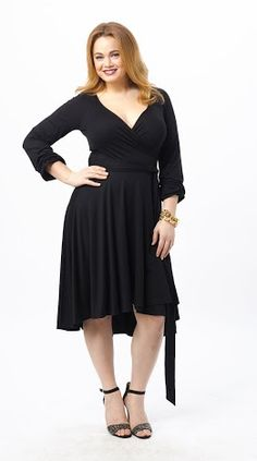 Shopping Online  December 17th Launch: Hi Low Wrap Dress by Three Dots. Available in L-3X