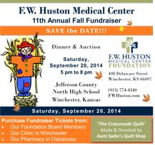 Dinner and Auction for F.W. Huston Medical Center September 20, 2014.  Join the fun!