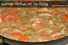 This pot pie filling is as good as it gets! Rich, creamy and packed with chicken and veggies. Bake it in any crust you like!