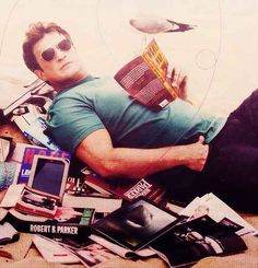 Novel Books & Reading Challenges - It's All Fun & Games: Celebrities and Other Famous People Reading - Nathan Fillion reading. Nathan Fillion, I Love Books, Books To Read, My Books, Nerd Love, Firefly Serenity, Picture Credit, Raining Men, To Infinity And Beyond