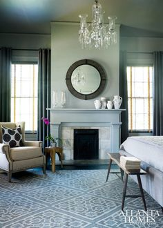 My problem is blue/gray trim color. Think colonial houses that have blue trim and white walls. I hate it but my husband loves it. Can you help? Discount Bedroom Furniture, Famous Interior Designers, Interior Paint Colors, Paint Colours, Room Colors, Wall Colors, Trim Color, Gray Trim, Atlanta Homes