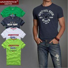 De Calidad SUPERIOR AF Anjoy & Fitch Marca Camiseta Ocasional 100% Algodón Camisetas y Tops de Verano Hombres Camiseta de manga corta Los Hombres de Fitness ropa