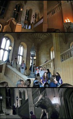 Many Chamber of Secrets scenes were filmed on the Grand Stairway leading to Christ Church College's Dining Hall (Site #31, harrypotterplaces.com/owls-oxford-wizarding-locations/). TOP PIC = Harry & Ron dashing to Hogwarts Great Hall after being violently disgorged from the Weasley Flying Ford Anglia. MIDDLE PIC = A real-world photo of CCC's Grand Stairway. BOTTOM PIC = The COS scene where Harry first sees Tom Riddle after being sucked into his diary. #HarryPotterForever #Potterheads…