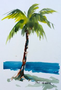 PALM TREE BEACH original watercolor - Hi ! You buy an original watercolor painting, signed by Pat Weaver. The size of this table is X - Beach Watercolor, Watercolor Trees, Watercolor Landscape, Watercolor Paintings, Painting Art, Tree Paintings, Tattoo Watercolor, Painting Tattoo, Knife Painting