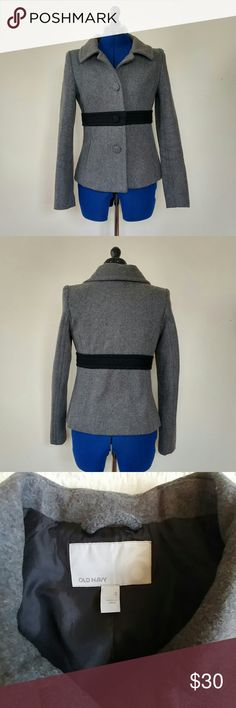 Grey wool pea coat Old Navy grey pea coat with a black accent band around the waist. Excellent condition with mild pilling under the arms. 16 inches from pit to pit, 26 inches total length. Very flattering cut! Old Navy Jackets & Coats Pea Coats