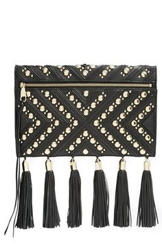 Rebecca Minkoff 'Kinga' Clutch at Nordstrom.com. Gilded, hammered studs and sleek hardware catch and beautifully reflect the light on this pebbled-leather clutch from Rebecca Minkoff. Meticulously stitched geometric details add even more texture, while swingy tassels give this just-right bag some eye-catching movement.