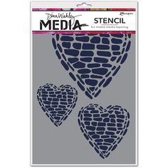 The Pebble Heart Stencil by Dina Wakley for Ranger Ink features a new twist on a traditional design. Add these unique hearts to papercrafting projects using Painting Tools, Artist Painting, Heart Stencil, Ranger Ink, Mixed Media Art, Cardmaking, Stencils, Cool Things To Buy, Paper Crafts