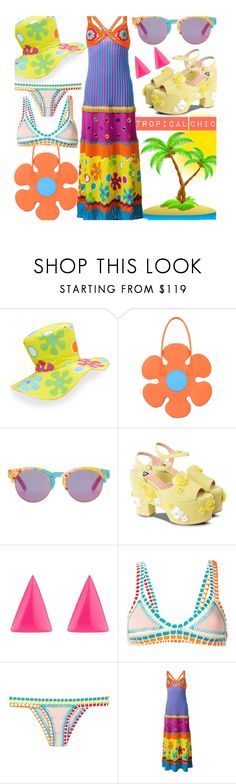 """Vacation Tropical L👀k"" by sanya-styleup ❤ liked on Polyvore featuring Moschino, TOMS, Alexis Bittar and kiini"