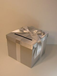 Silver Wedding Card Box Gift Card Box Money Box  Holder--Customize in your color(10x10x9) --custom made by bwithustudio on Etsy https://www.etsy.com/listing/95875144/silver-wedding-card-box-gift-card-box