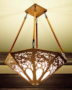 "James Mattson Coppercraft Tree chandelier $1675. This exquisitely crafted chandelier will be the focal point of your dining room or entryway. The shade is approximately 24"" in diameter, and the standard overall height is 32."""
