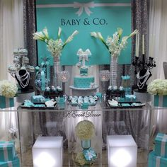 Tiffany Themed Baby Shower main table, decoration ideas, baby and co Tiffany Theme, Tiffany Party, Tiffany Blue, Shower Party, Baby Shower Parties, Bridal Shower, Baby Shower Games, Baby Boy Shower, Tiffany Baby Showers