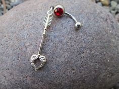 body jewelry heart shaped arrow with red stone belly button ring