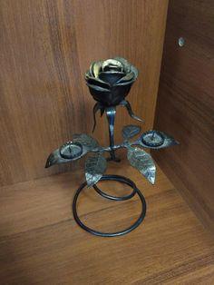 forged Rose Candlestick Handmade Vintage Welded Sculpture Welding. Vintage Decor Welding Art