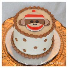 Sock Monkey Smash Cake - like the decor idea minus sock monkey and with yellow red polka dots