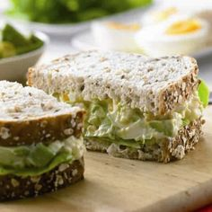Egg & Avocado Salad Sandwich- ADD PALEO GRAIN FREE BREAD! Perhaps devilled eggs seasonings and add pickles. mmmmm