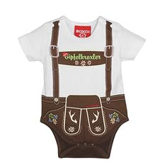 Too young for Lederhosen? The funny baby bodysuit in Lederhosen optics helps! The body with t-shirt sleeves has a cute reader pants print with printed suspenders. So sweet can be costume for Klolo Wurzerl! Baby Dirndl, Baby T Shirts, Lederhosen, Brown Bodies, Little Boy Outfits, Folk Fashion, European Fashion, Funny Babies, Bebe