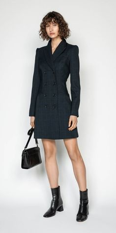 Checked Suit, Checked Blazer, Cue Clothing, Double Breasted Blazer, Blazer Dress, A Line Skirts, Coat, Long Sleeve, Tops Online