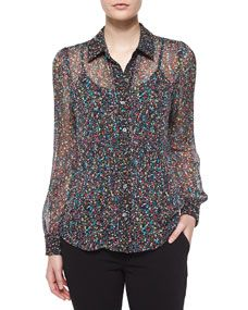 Diane von Furstenberg Mariah Splatter-Print Silk Blouse, Black/Multicolor